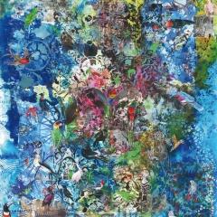 Vogelparadies_ Collage, Druck, Malerei_Vorlage für ein Fabric-Frontline Design