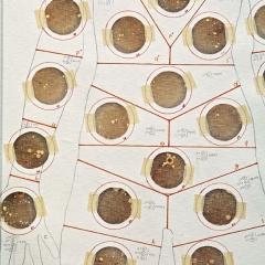 Title: detail 'Draft_bacteria mapping' Designer: Sonja Bäumel Year: 2011 Material: cotton, paper, wood Technique: printed, glued Dimension: 240 cm h x 80 cm w Collection TextielMuseum Inv. No.: BK1034b Photo: Joep Vogels/TextielMuseum