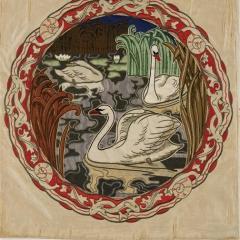 Kissenplatte Eckmann Medaillon, Foto: Deutsches Textilmuseum Krefeld