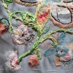 """Detail eines meiner Samples für die Textile Art, um zu verdeutlichen, was ich unter """"kontaminiertem Sticken"""" verstehe"""