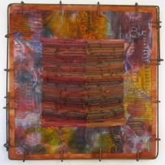 Eva Lippert, Coruca - Raupe, Nägel, Batik und Druck, Rahmen Baustahl, ca. 70 x 70 cm