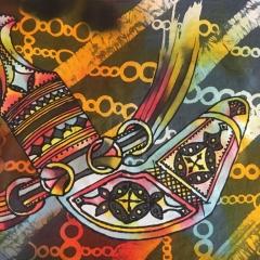 Najlaa Al Saadi, 2019, Omani Dagger, Batik (40x 30 cm) Photo Najlaa Al Saadi