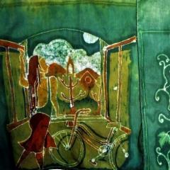 Schal Frau am Fenster, 180x 40cm, 2019. Foto: A.Krauße