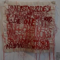 Claudia Kallscheuer - Wetter Donnerstag, 28.3. Die Sonne ... 2013, Nessel, Stickerei, 28 x 30 cm