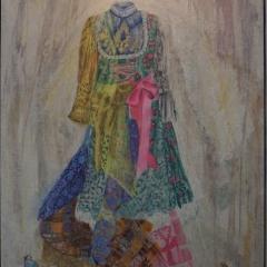 Sabine Ostermann - Leute machen Kleider oder andersrum ... (II), 2017 - Linolschnitt/Ölfarbe, 171x121 cm