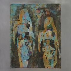 Textilbild, mehrschichtiger Siebdruck genäht auf Alu-Platten