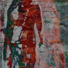 Textilbild, mehrschichtiger Siebdruck genäht auf Alu-Platten - Detail
