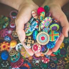 Knoepfe_Auswahl meiner Zwirn- und Posamentenknöpfe, Foto Centa Wamser