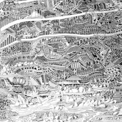Detailansicht - Babel, 2013, Tusche auf Papier / ink on paper, 80 x 60 cm