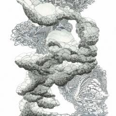 Wolkenbruch, 2012, Tusche und Aquarell auf Papier, 40 x 30 cm