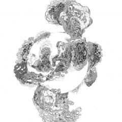 Eruption, 2013, Tusche auf Papier / ink on paper, 30 x 24 cm