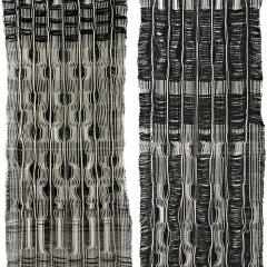 Flooded Forest. Kadi Pajupuu, Estonia. Cotton, linen. Handwoven in countermarch loom with 6 shafts. The deformation of warp lines has been achieved with RailReed (adjustable reed invented by the author).