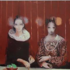 Inga Aru: Barfuß, 2017, Öl auf Leinwand, 6-teilig, Detail