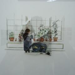 Maria Ossandon: Wiederaufbau, 2017, Zeichnung und Keramik auf Baumwollpapier