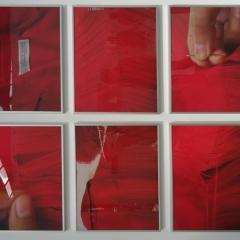 Natalia Urnia: Ziehe die Fäden, 2019, Lochstickerei, Fotografie, je 6-teilig