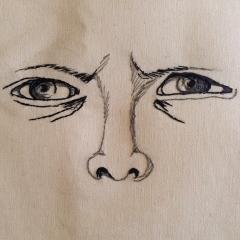 Anfang eines Portraits mit dem Augenausdruck (2017)