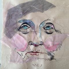 Zwischenstadium bei der Herstellung eines Portraits (2016), man sieht gut die Prozedur des Schattierens mit Tüll