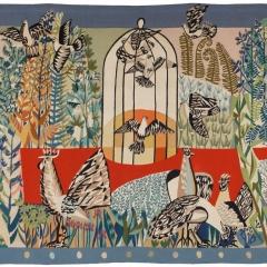 Marielies Riebesel_Garten mit Vögeln_Gobelin_um 1958_184x235cm_Kunstarchiv Beeskow_Foto_Christoph Sandig